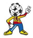 Novelty FOOTBALL HEAD MAN With Spain Spanish Flag Motif For Football Soccer Team Supporter Vinyl Car Sticker 100x85mm